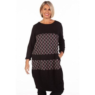 Fizz Black & Red Check Panel Dress