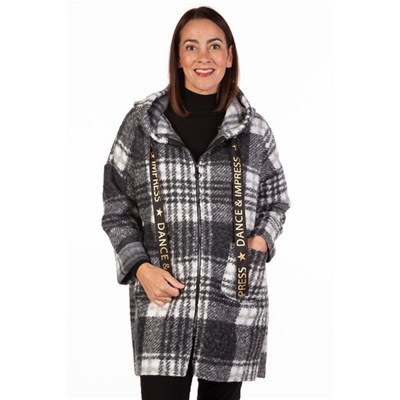 Fizz Black & White Dance and Impress Zip Front Checked Coat