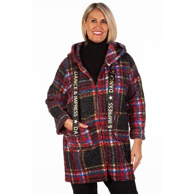 Fizz Red Dance and Impress Zip Front Checked Coat