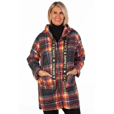 Fizz Flame Dance and Impress Zip Front Checked Coat