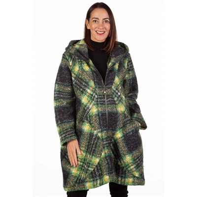 Fizz Green Zip Front Hooded Wool Check Coat