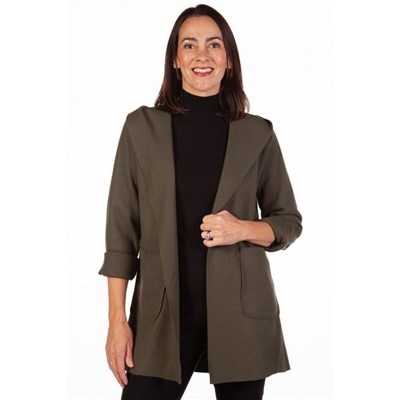 Fizz Khaki Edge To Edge Hooded Jacket