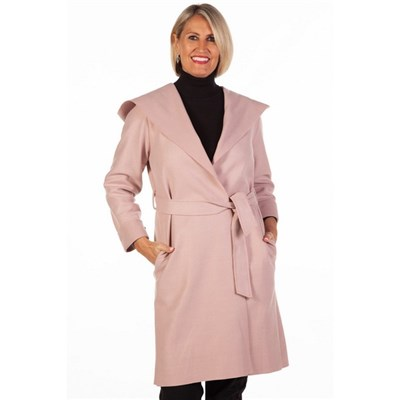 Fizz Pink Edge To Edge Belted Coat