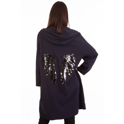 Fizz Navy Blue & Black Sequin Angel Wing Jacket