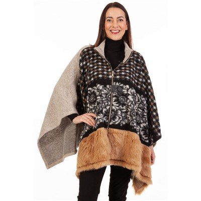 Fizz Black & Beige Zip Front Faux Fur Cape
