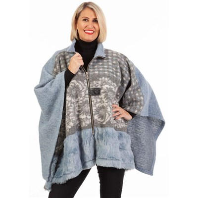 Fizz Pale Blue Zip Front Faux Fur Cape