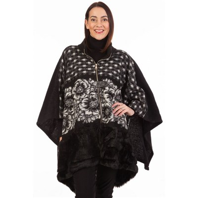 Fizz Black Zip Front Faux Fur Cape