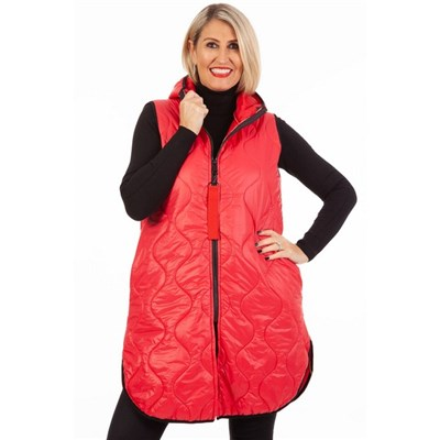 Fizz Red Long Length Gilet with Red Tab