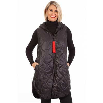 Fizz Charcoal Long Length Gilet with Red Tab