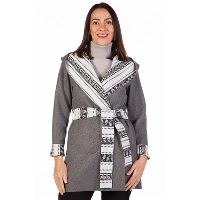 Fizz Grey & White Aztec Print Belted Jacket with Hood