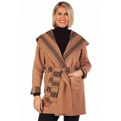 Fizz Camel & Black Aztec Print Belted Jacket with Hood