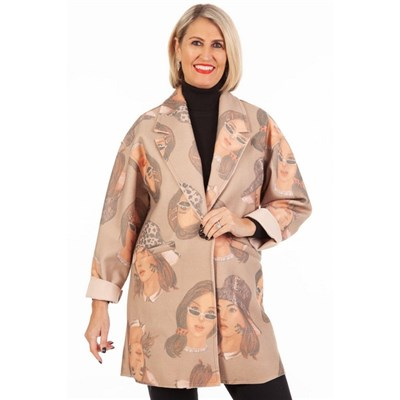 Fizz Beige Woman in Hat and Sunglasses Abstract Print Jacket
