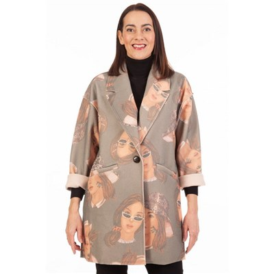 Fizz Grey Woman in Hat and Sunglasses Abstract Print Jacket