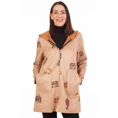 Fizz Light Camel Handbag Print Hooded Jacket