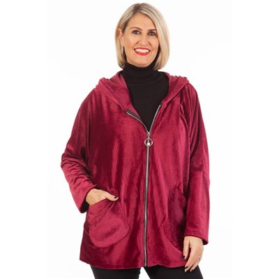 Fizz Mulberry Cord Effect Pearl Zip Hooded Jacket