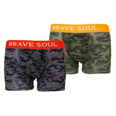 Brave Soul Mens Camouflage Print Hipster Boxers (Pack Of 2)