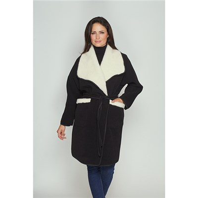 Kesta  Faux Sheepskin Tie Belt Coat