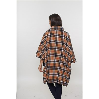 David Barry Reversible Check Wool Cape