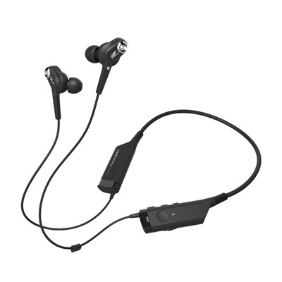 Audio-Technica ATH-ANC40BT Active Noise Cancelling Wireless In-Ear Bluetooth Headphones with Neckband Design, Integrated Mic and Controls for Calls