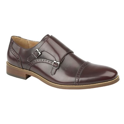 Goor Mens Twin Buckle Monk Shoes
