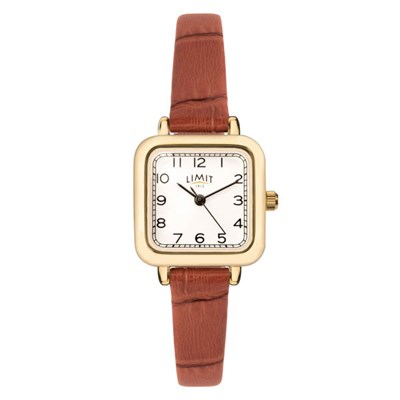 Limit Ladies Classic Square Gold Plated Watch with Leather Strap