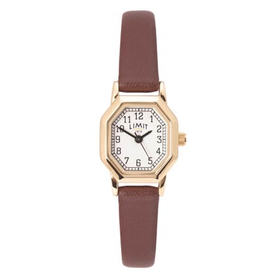 Limit Ladies Classic Octagonal Gold Plated Watch with Leather Strap