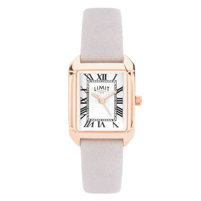 Limit Ladies Classic Square Rose Gold Plated Watch with Leather Strap