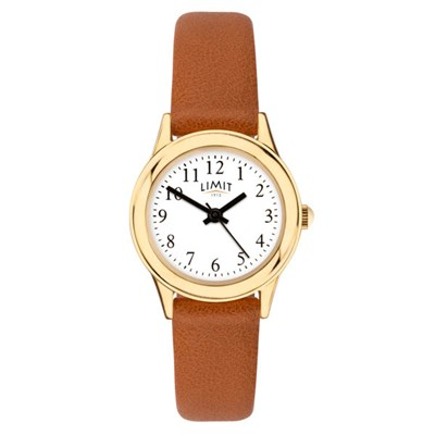 Limit Ladies Classic Round Gold Plated Watch with Leather Strap
