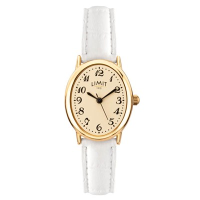 Limit Ladies Classic Oval Gold Plated Watch with Leather Strap