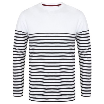 Front Row Mens Long Sleeve Breton Stripe T-Shirt