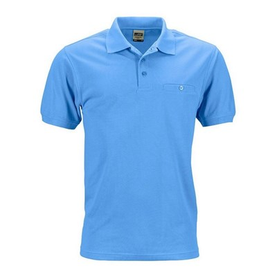 James and Nicholson Mens Workwear Polo Pocket Shirt