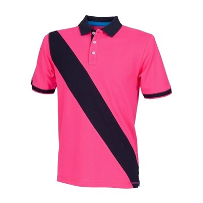 Front Row Mens Diagonal Stripe House Slim Fit Polo Shirt