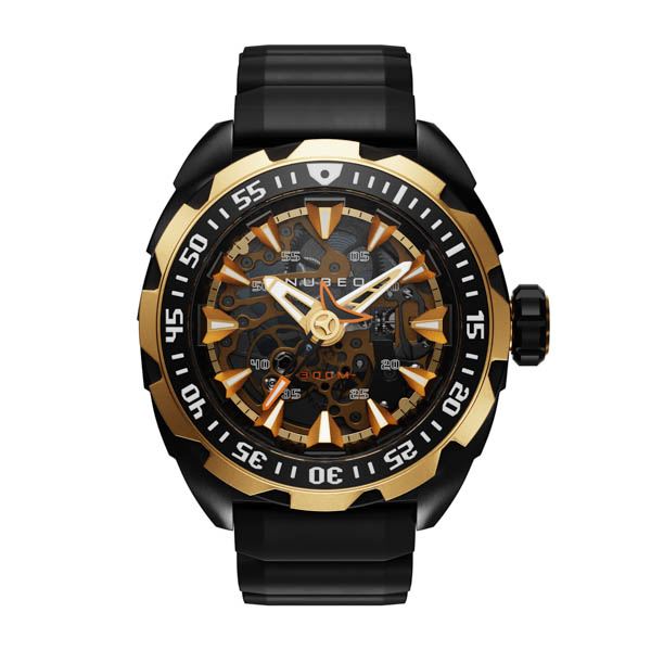 Nubeo Gents Ltd Ed Mako Automatic Watch with Silicone Strap Gold