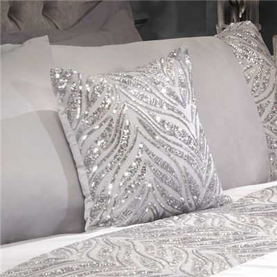 Sparkle Sequin Silver Filled Cushion - 40 x 40cm