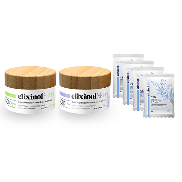 Elixinol Skin CBD Day & Night Cream Duo with Face Mask 4 Pack No Colour