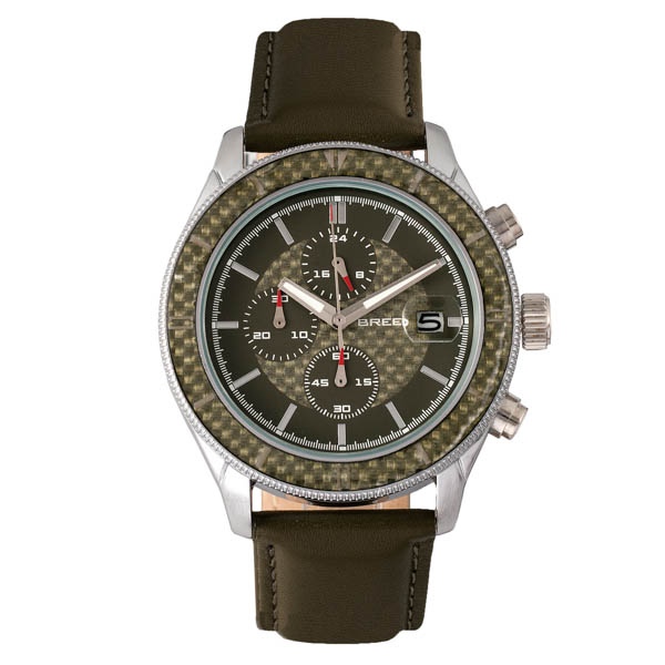 Breed Gent's Maverick Watch with Genuine Leather Strap Olive