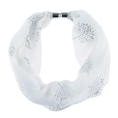 Foil Print Pleated Magnetic Scarf