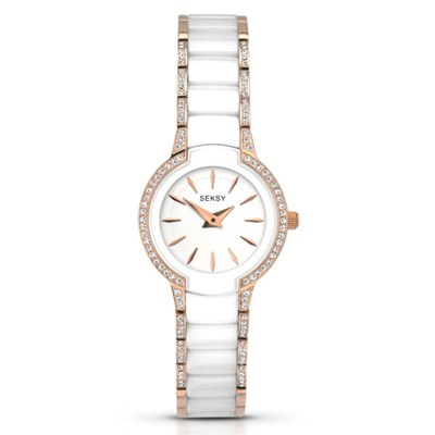 Seksy Ladies Swarovski Crystals Fashion Watch with Stainless Steel Bracelet