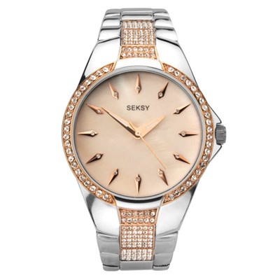 Seksy Ladies Swarovski Crystals Mother of Pearl Fashion Watch with Stainless Steel Bracelet