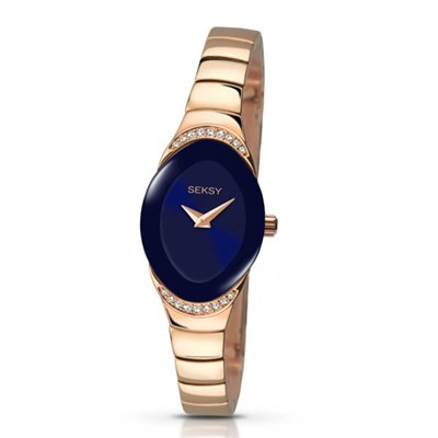 Seksy Ladies Swarovski Crystals Blue Dial Watch with Rose Gold Stainless Steel Bracelet