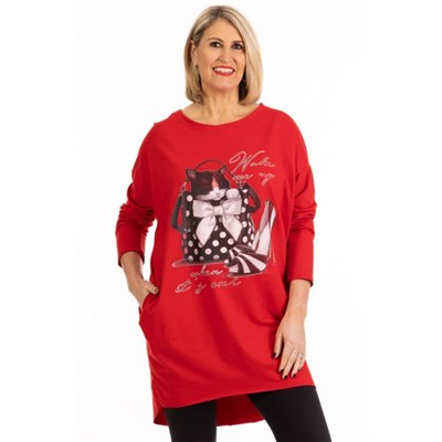 Fizz Red Wake Me Up Two Pocket Tunic