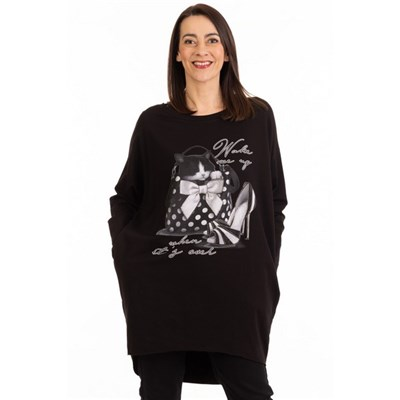 Fizz Black Wake Me Up Two Pocket Tunic
