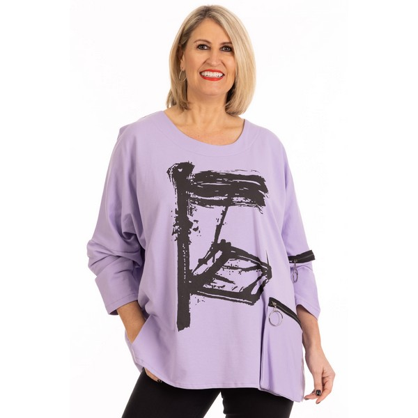 Fizz Lilac Abstract Paint Print Double Zip Detail Sweatshirt One Size Lilac