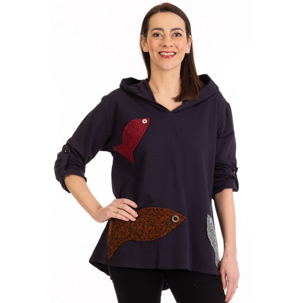 Fizz Navy Blue Adjustable Sleeve Fishes Hoodie One Size Navy Blue