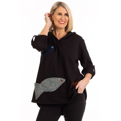 Fizz Black Adjustable Sleeve Fishes Hoodie