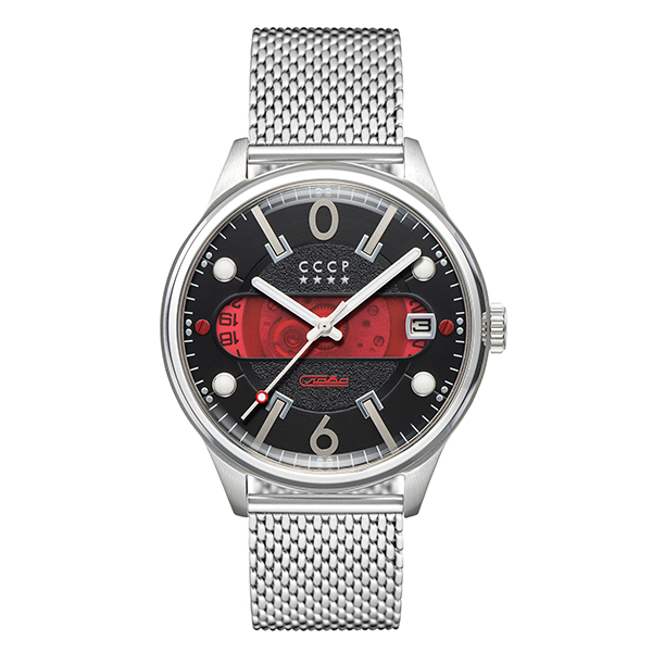 CCCP Gent's Korolev Slava Automatic Watch with Milanese Bracelet Red