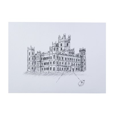 Highclere Castle A4 Sketch by Dave Bradford