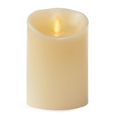 Luminara Wide Ivory Pillar Candle with Wax Finish and IR Enabled (8.8cm x 13.4cm)