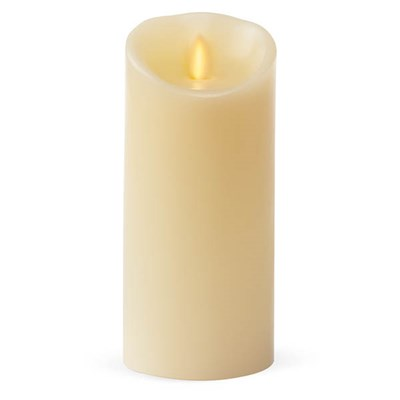 Luminara Wide Ivory Pillar Candle with Wax Finish and IR Enabled (8.8cm x 17.7cm)