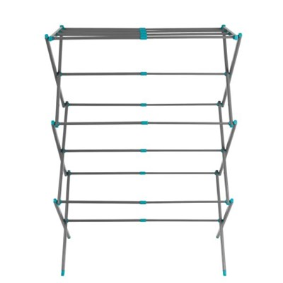Beldray LA077615EU7 Three Tier Expandable Clothes Airer, Turquoise and Grey
